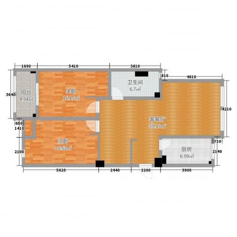 藻江花园2室2厅1卫1厨114.00㎡户型图