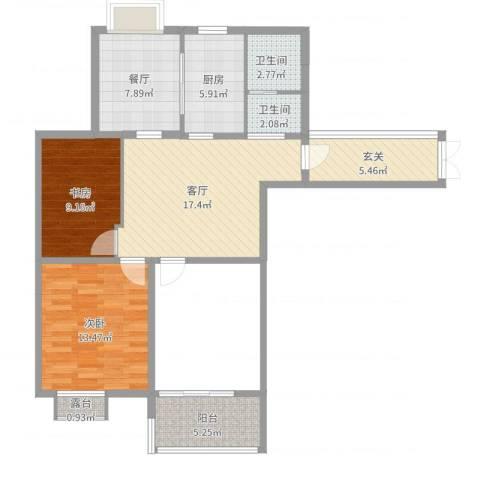 书香名邸2室2厅2卫1厨88.00㎡户型图