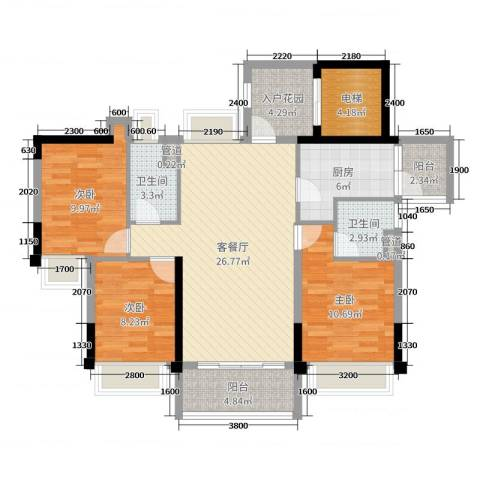 碧桂园・盛世华府3室2厅2卫1厨106.00㎡户型图