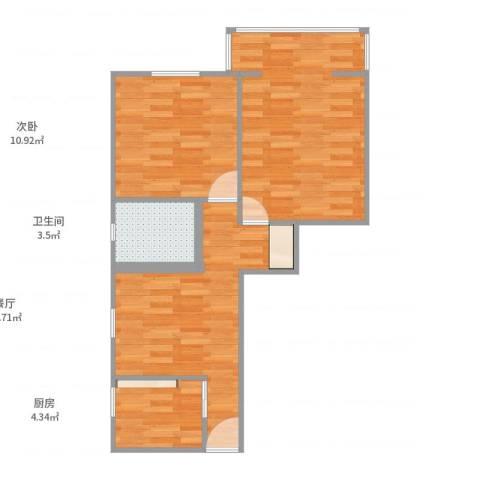 红旗教师公寓2室1厅1卫1厨63.00㎡户型图