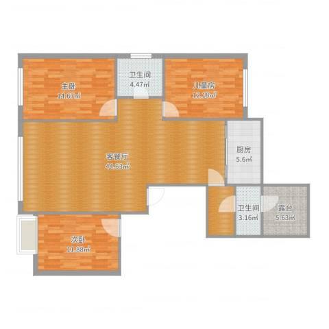 佳地花园3室2厅2卫1厨132.00㎡户型图