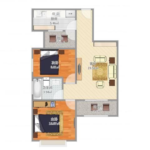 凯德嘉博名邸2室1厅1卫1厨68.00㎡户型图