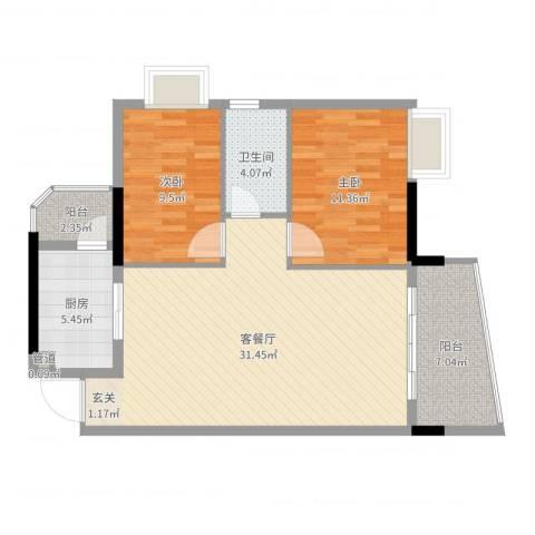 南方医科大学东院小区2室2厅1卫1厨89.00㎡户型图