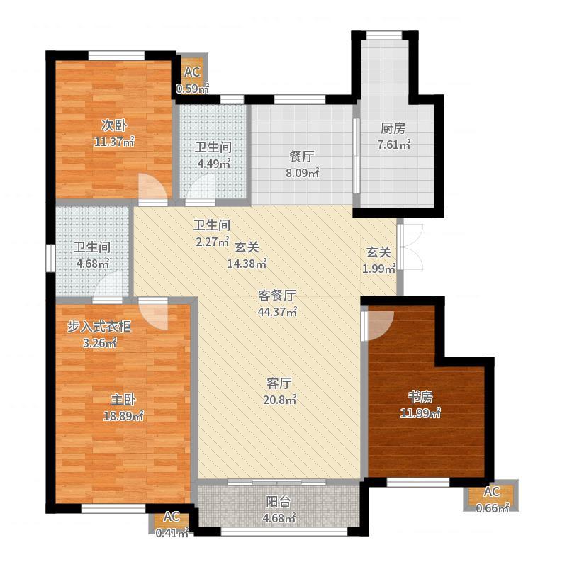 华城馨苑145.00㎡高层标准层F-01户型-副本户型图