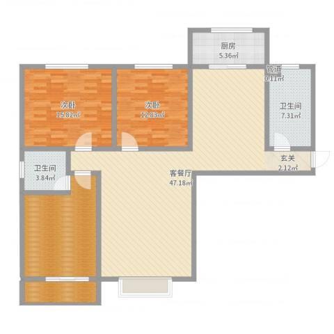 隆安东方明珠2室2厅2卫1厨139.00㎡户型图