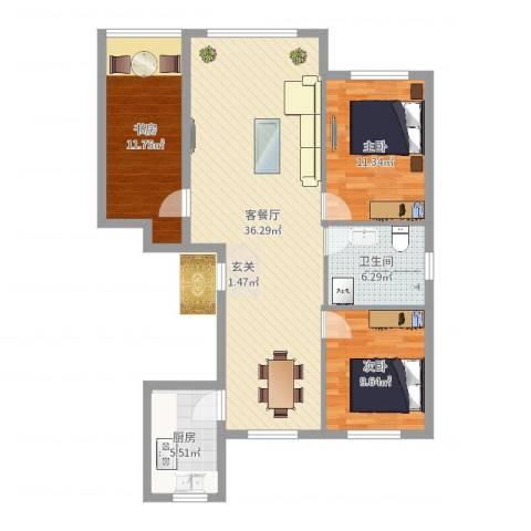 城润万家3室2厅1卫1厨101.00㎡户型图
