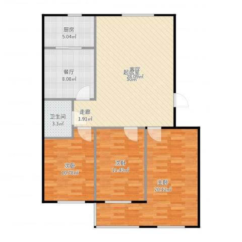 金色时代3室1厅1卫1厨111.00㎡户型图