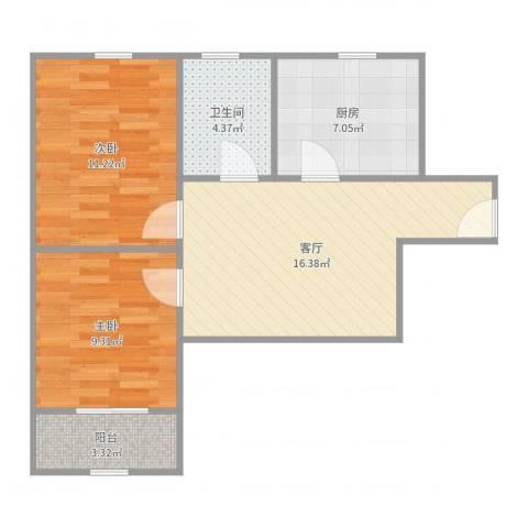 景凤路205弄小区2室1厅1卫1厨65.00㎡户型图