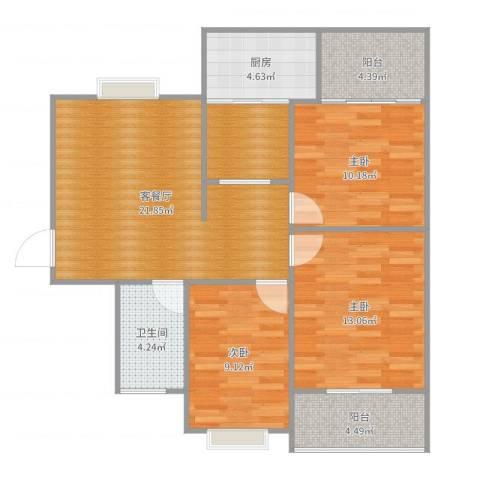 霍州开元小区3室2厅1卫1厨95.00㎡户型图