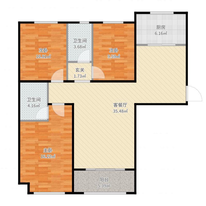 汇君城124.30㎡A3户型3室2厅2卫户型图