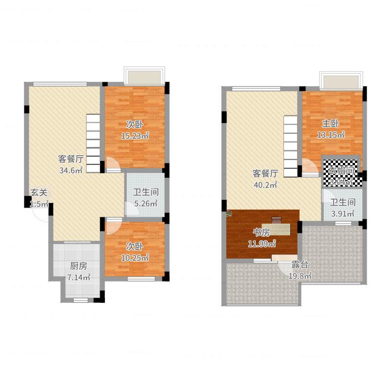 俪锦城・屿澜湾139.38㎡A1D户型4室4厅2卫1厨户型图