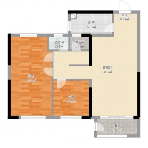 万科蓝山2室2厅1卫1厨87.00㎡户型图
