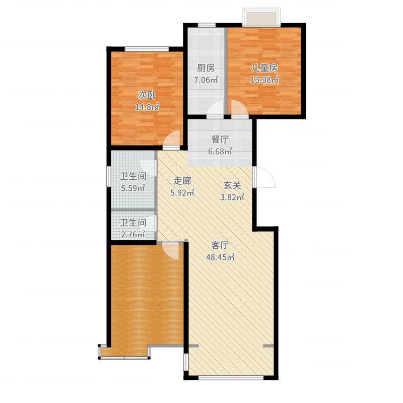 祺泰新居142.65㎡祺泰新居142.65㎡2室2厅2卫户型2室2厅2卫户型图
