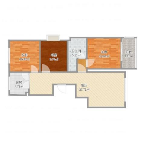 名仕佳苑3室1厅1卫1厨96.00㎡户型图