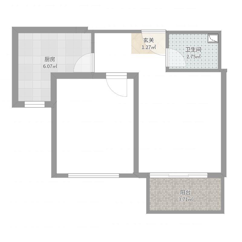 未名189863.27㎡B3#楼2号一居户型1室1厅1卫1厨户型图