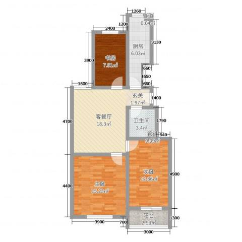 翰林名晟小区3室2厅1卫1厨83.00㎡户型图