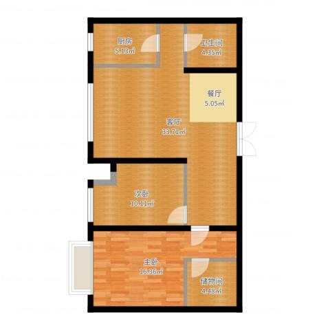 万科城峰汇2室1厅1卫1厨93.00㎡户型图