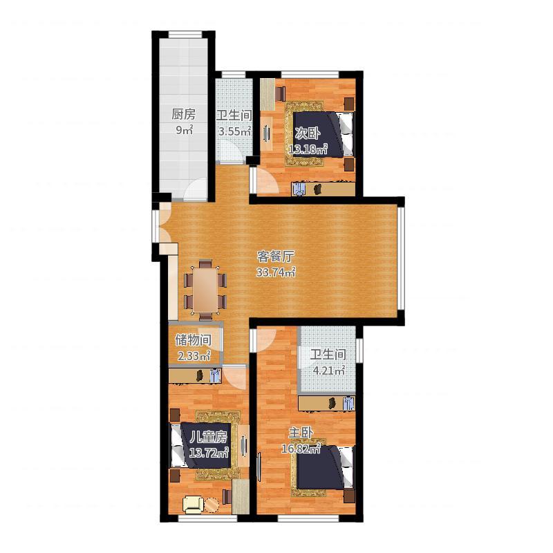 浦江御景湾127.47㎡1号和2号楼C2'户型3室2厅2卫户型图