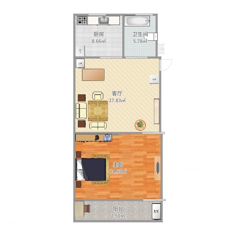 铁路新村5号505室46平户型图