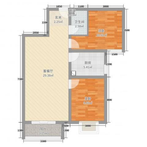 翰林名晟小区2室2厅1卫1厨77.00㎡户型图