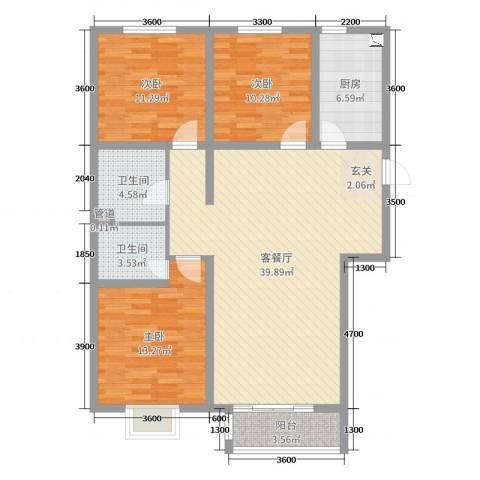 翰林名晟小区3室2厅2卫1厨116.00㎡户型图