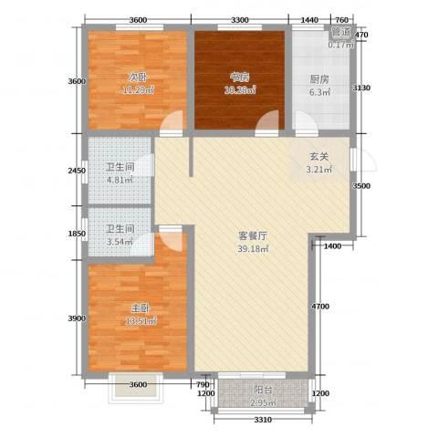 翰林名晟小区3室2厅2卫1厨115.00㎡户型图