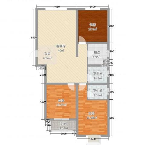 翰林名晟小区3室2厅2卫1厨121.00㎡户型图