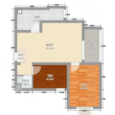 翰林名晟小区2室2厅1卫1厨63.00㎡户型图