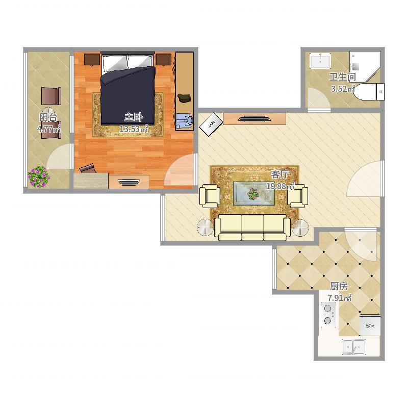 绿景苑62.71西向正规一居室户型图