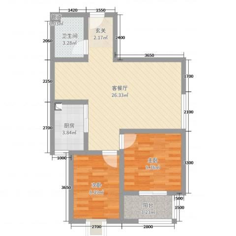 翰林名晟小区2室2厅1卫1厨68.00㎡户型图