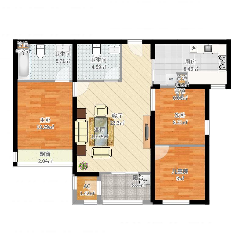 金泰城二期100.54㎡二期A2户型2室2厅2卫-副本户型图