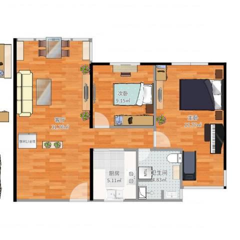华敏大厦2室1厅1卫1厨86.00㎡户型图