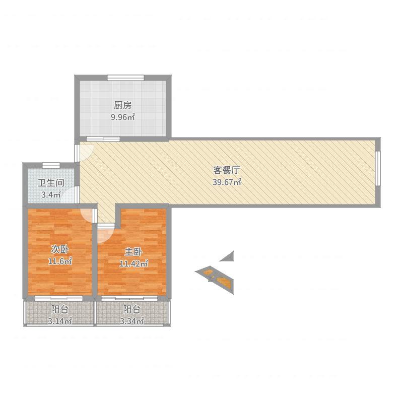 绿川新苑80.03㎡上海户型2室1厅1卫1厨-副本户型图