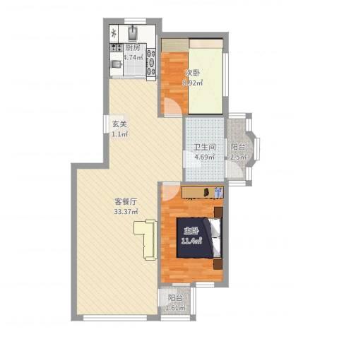 青林美地2室2厅1卫1厨84.00㎡户型图
