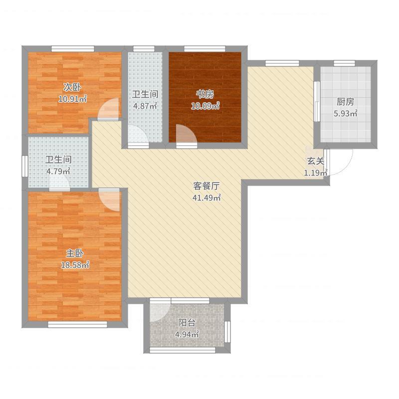 慧谷蓝庭127.00㎡F户型3室3厅2卫1厨-副本户型图