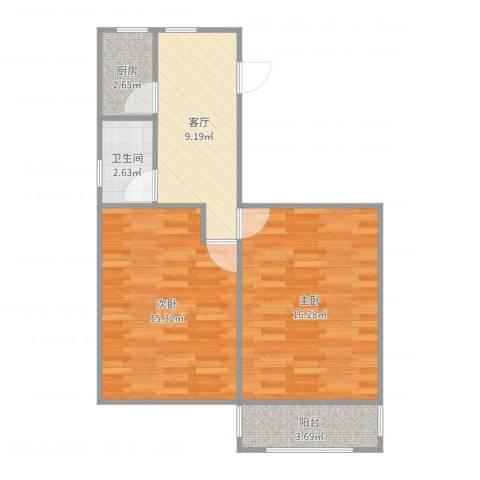 工人新村2室1厅1卫1厨62.00㎡户型图