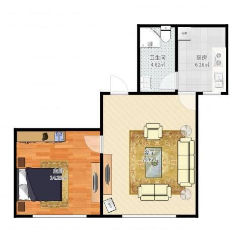 都会轩2-17061室1厅1卫1厨60.00㎡户型图