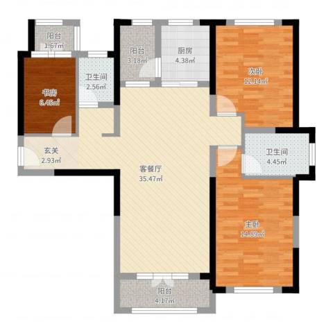 航宇・长江国际3室2厅2卫1厨112.00㎡户型图
