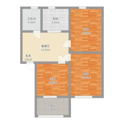 宝带新村3室2厅1卫1厨96.00㎡户型图