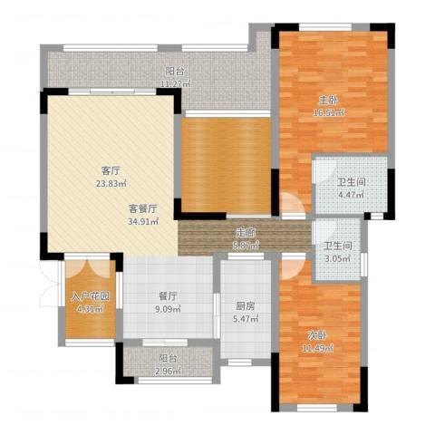 锴泽四季花城2室2厅2卫1厨130.00㎡户型图