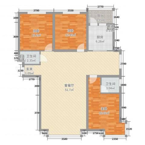 万象城3室2厅2卫1厨151.00㎡户型图