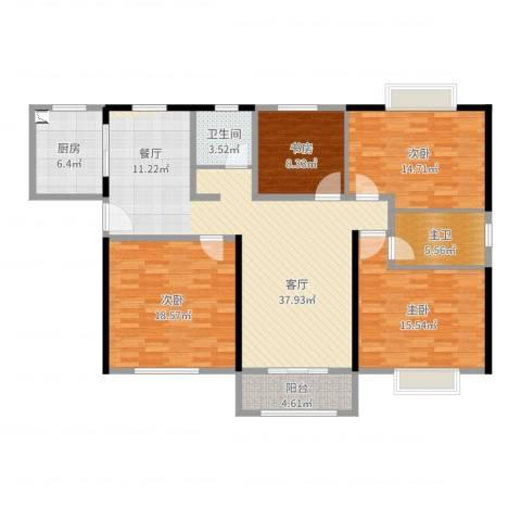 塞纳森晴4室1厅1卫1厨144.00㎡户型图