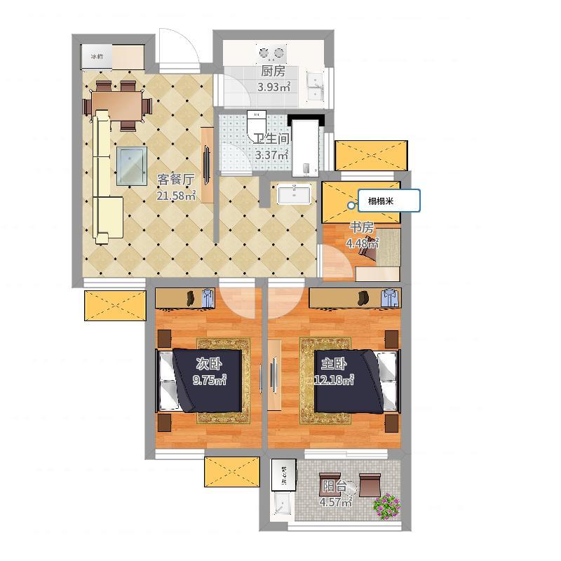 龙西新寓B1户型原始图-副本户型图