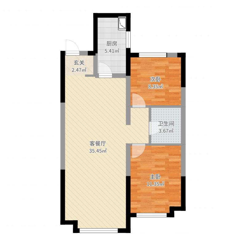 金地檀府88.00㎡户型2室2厅1卫1厨户型图