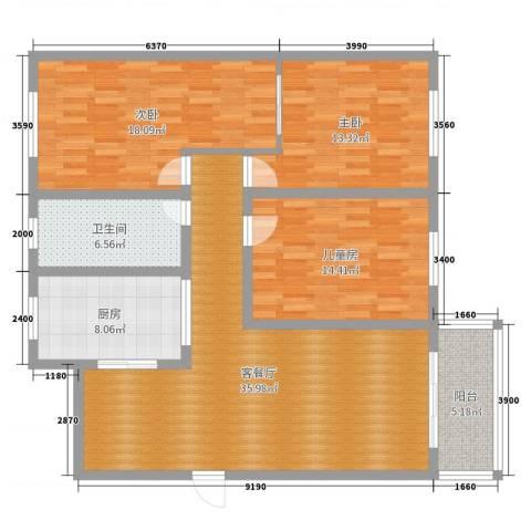 藻江花园3室2厅1卫1厨127.00㎡户型图