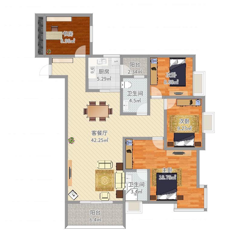 中央新城样板房5户型图