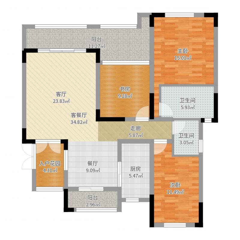 10锴泽四季花城7号楼,3室2厅-副本户型图