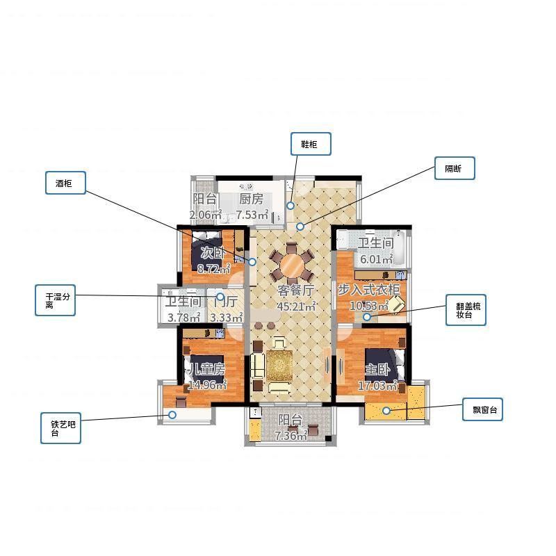 【完美空间】158方美式三居-副本户型图