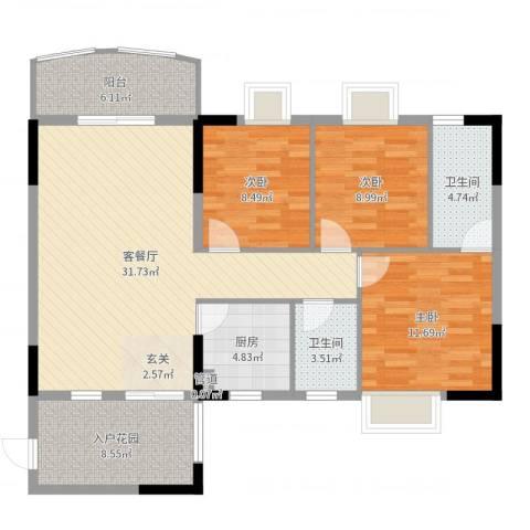 圣堤亚纳3室2厅2卫1厨111.00㎡户型图