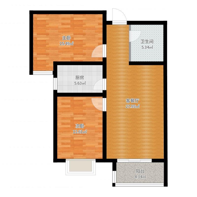绿朗时光89.12㎡2#B户型2室2厅1卫-副本户型图
